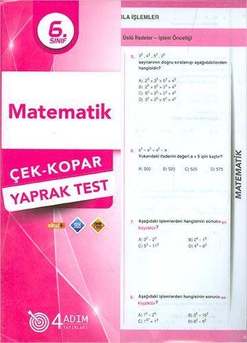 4 Adım Yayıncılık 6. Sınıf Matematik Yaprak Test