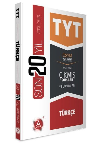 A Yayınları TYT Türkçe Son 20 Yıl Konu Konu Çıkmış Sorular