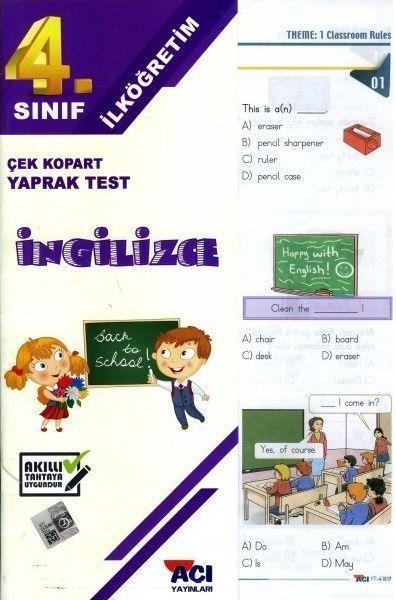 Açı Yayınları 4. Sınıf İngilizce Çek Kopart Yaprak Test