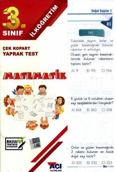 Açı Yayınları 3. Sınıf Matematik Çek Kopart Yaprak Test