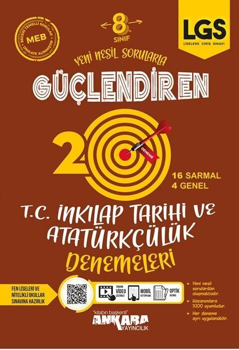 Ankara Yayıncılık 8. Sınıf LGS T.C. İnkılap Tarihi ve Atatürkçülük 20 Güçlendiren Denemeleri