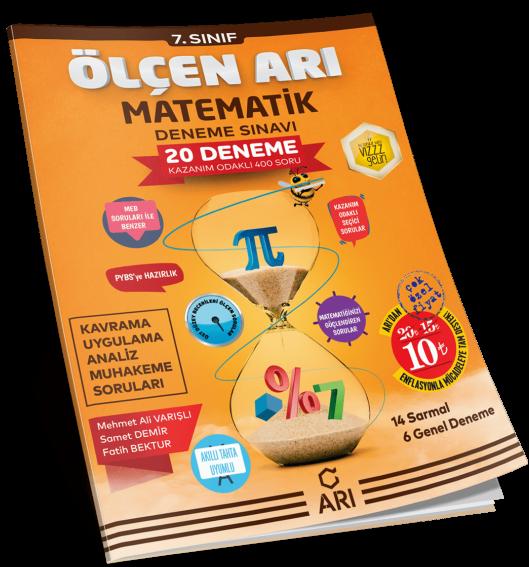 Arı Yayıncılık 7. Sınıf Matematik Ölçen Arı 20 Deneme Sınavı