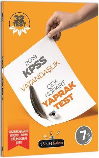 Beyaz Kalem 2019 KPSS Genel Kültür Vatandaşlık Çek Kopar