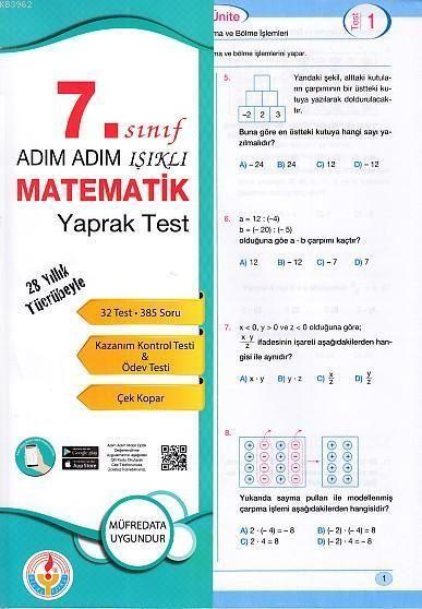 Bilal Işıklı Yayınları Adım Adım Işıklı 7. Sınıf Matematik Yaprak Test