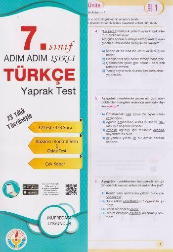 Bilal Işıklı Yayınları 7. Sınıf Adım Adım Işıklı Türkçe Yaprak Test