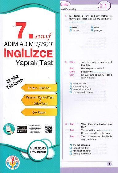 Bilal Işıklı Yayınları 7. Sınıf Adım Adım Işıklı İngilizce Yaprak Test