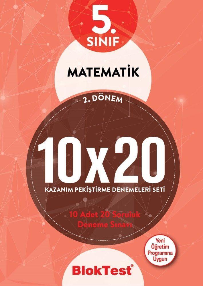Bloktest Yayınları 5. Sınıf 2. Dönem Matematik 10x20 Kazanım Pekiştirme Denemeleri Seti