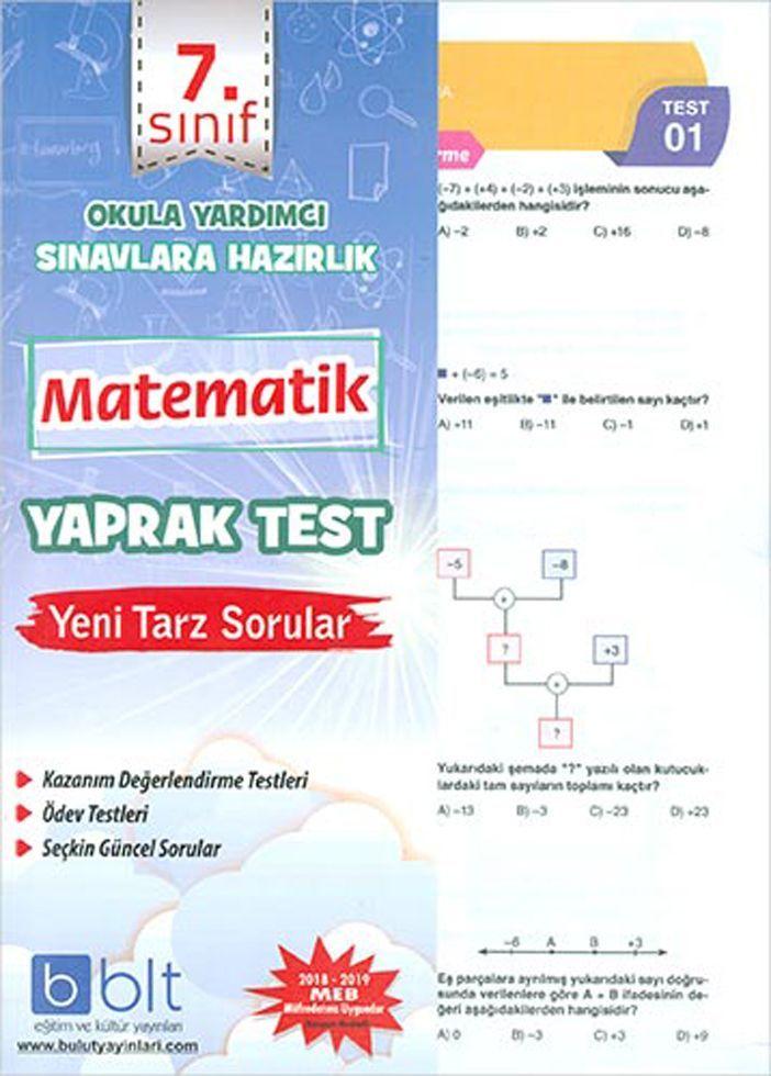 Bulut Eğitim ve Kültür Yayınları 7. Sınıf Matematik Yaprak Test