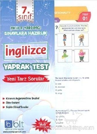 Bulut Eğitim Yayınları 7. Sınıf İngilizce Yaprak Test