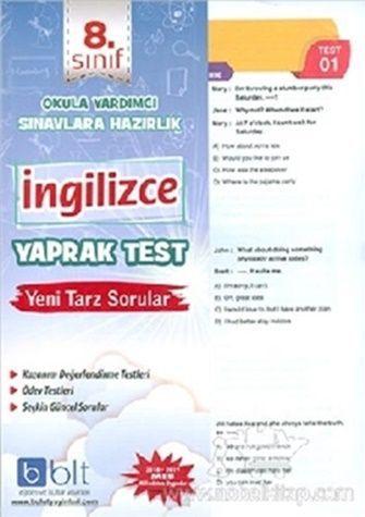 Bulut Eğitim Yayınları 8. Sınıf İngilizce Yaprak Test