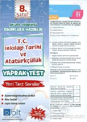 Bulut Eğitim Yayınları 8. Sınıf T.C. İnkılap Tarihi ve Atatürkçülük Yaprak Test