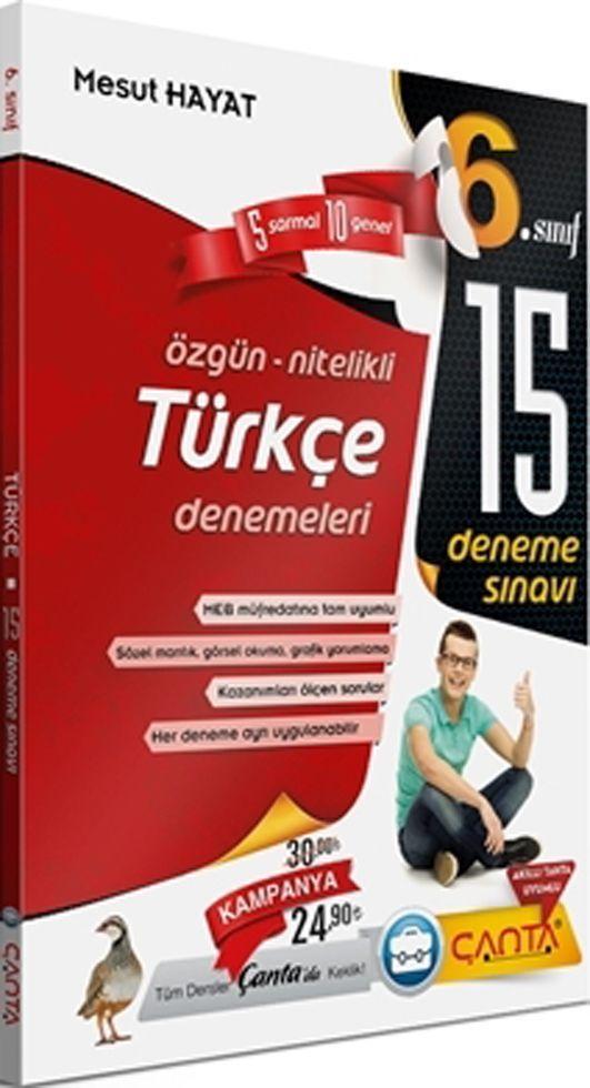 Çanta Yayınları 6. Sınıf Türkçe 15 Deneme Sınavı