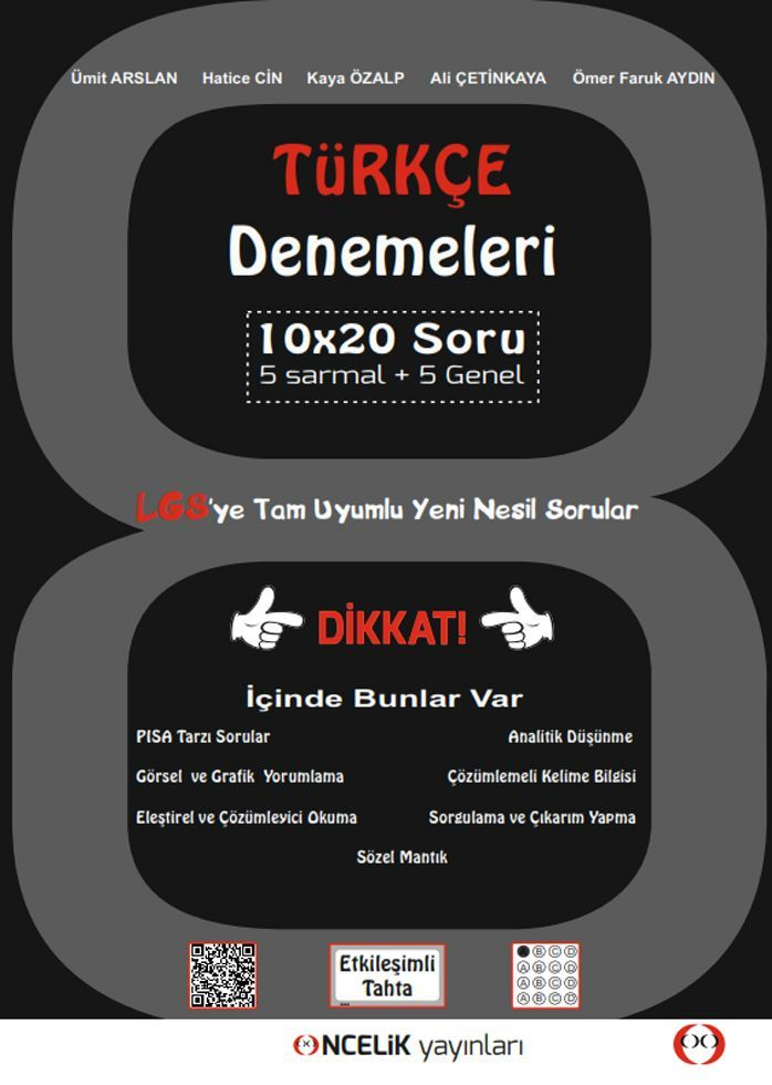 Öncelik Yayınları LGS Türkçe 10x20 Denemeleri