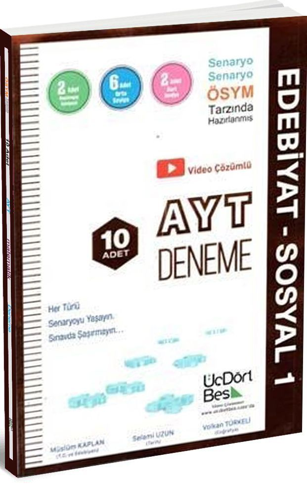 ÜçDörtBeş Yayınları AYT Edebiyat Sosyal 1 10 lu Deneme