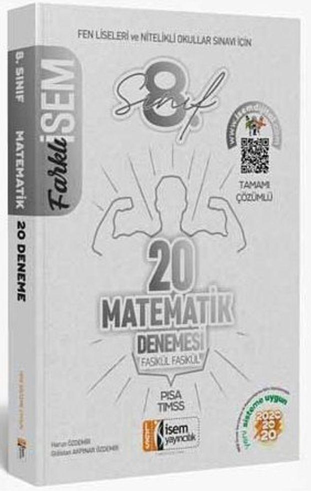 İsem Yayınları 8. Sınıf LGS Matematik Farklı İsem 20 li Sarmal Deneme