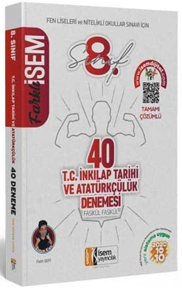 İsem Yayınları 8. Sınıf LGS T.C. İnkılap Tarihi ve Atatürkçülük Farklı İsem 40 lı Sarmal Deneme