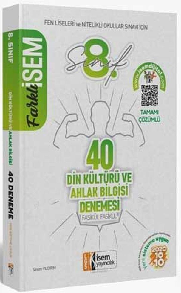 İsem Yayınları 8. Sınıf LGS Din Kültürü ve Ahlak Bilgisi Farklı İsem 40 lı Sarmal Deneme