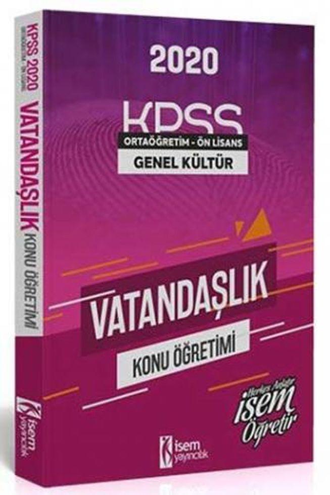 İsem Yayınları 2020 KPSS Ortaöğretim Ön Lisans Vatandaşlık Konu Öğretimi