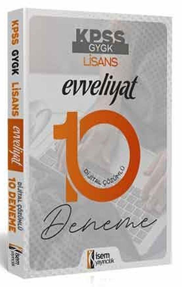 İsem Yayınları KPSS Genel Yetenek Genel Kültür Evveliyat Tamamı Dijital Çözümlü 10 Deneme