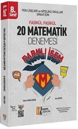 İsem Yayınları 8. Sınıf LGS Matematik Farklı İsem 20 Deneme