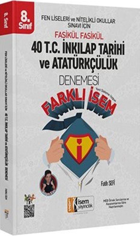 İsem Yayınları 8. Sınıf T.C. İnkılap Tarihi ve Atatürkçülük Farklı İsem 40 Denemesi
