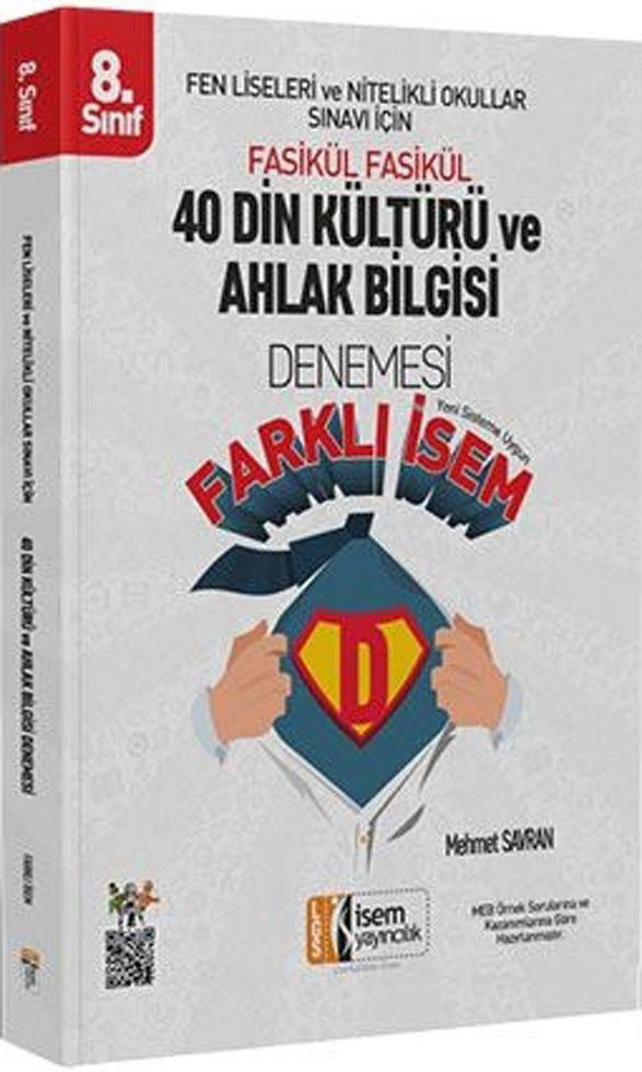 İsem Yayınları 8. Sınıf Din Kültürü ve Ahlak Bilgisi Farklı İsem 40 Denemesi