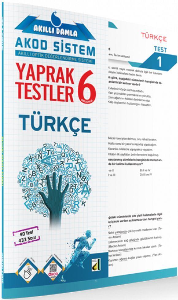 Damla Yayınları 6. Sınıf Türkçe Akıllı Damla Yaprak Testi