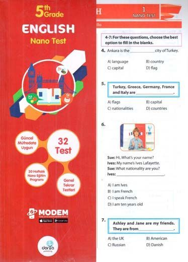 Dorya Yayınları 5. Sınıf English Nano Test