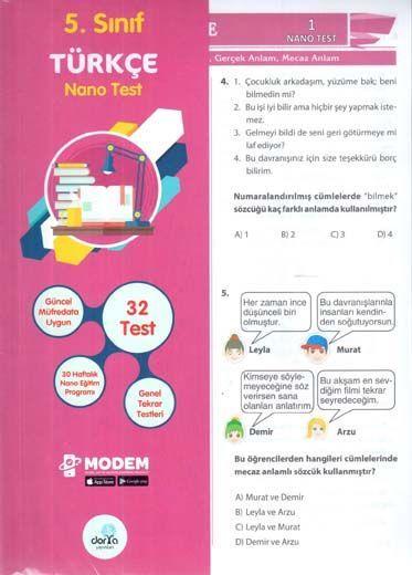 Dorya Yayınları 5. Sınıf Türkçe Nano Test