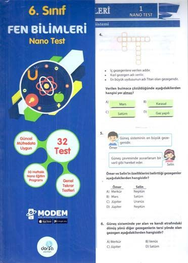 Dorya Yayınları 6. Sınıf Fen Bilimleri Nano Test