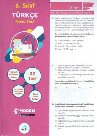 Dorya Yayınları 6. Sınıf Türkçe Nano Test