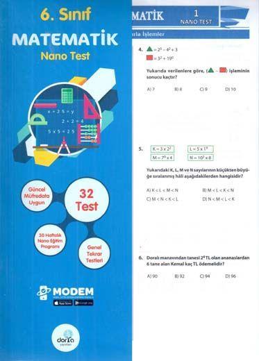 Dorya Yayınları 6. Sınıf Matematik Nano Test