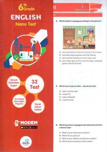 Dorya Yayınları 6. Sınıf English Nano Test
