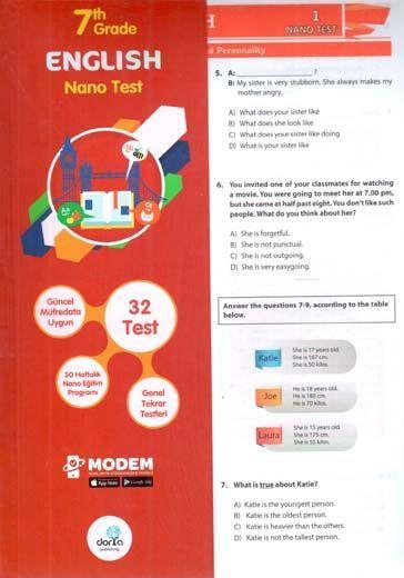 Dorya Yayınları 7. Sınıf English Nano Test
