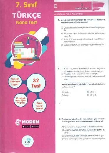 Dorya Yayınları 7. Sınıf Türkçe Nano Test