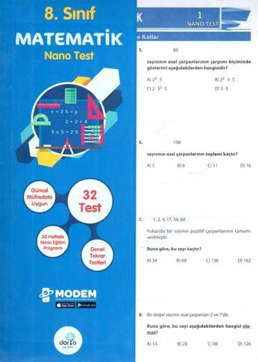 Dorya Yayınları 8. Sınıf Matematik Nano Test