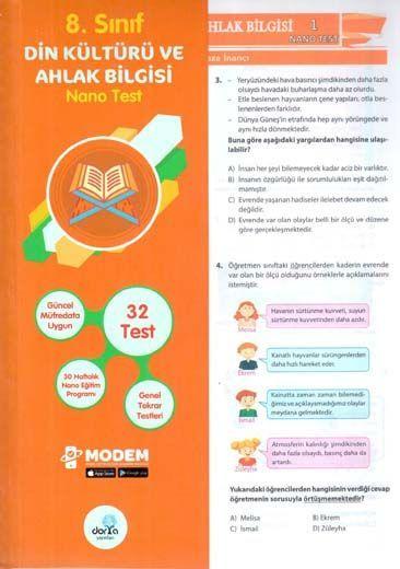 Dorya Yayınları 8. Sınıf Din Kültürü ve Ahlak Bilgisi Nano Test