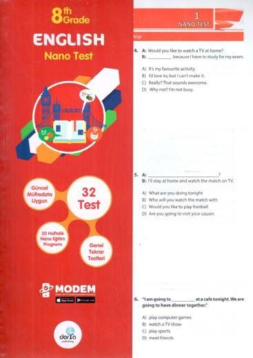 Dorya Yayınları 8. Sınıf English Nano Test