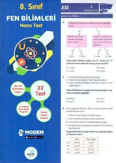 Dorya Yayınları 8. Sınıf Fen Bilimleri Nano Test