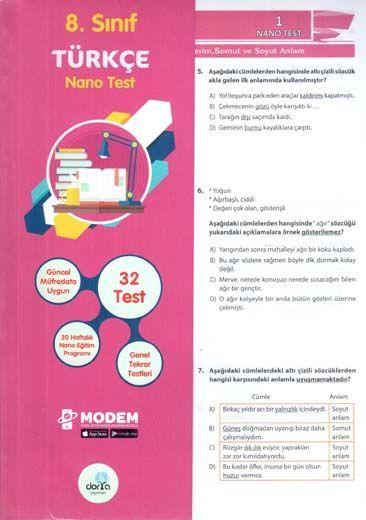 Dorya Yayınları 8. Sınıf Türkçe Nano Test