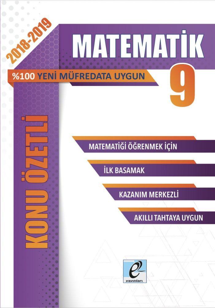 E-Kare Yayınları 9. Sınıf Matematik Konu Özetli Soru Bankası Seti
