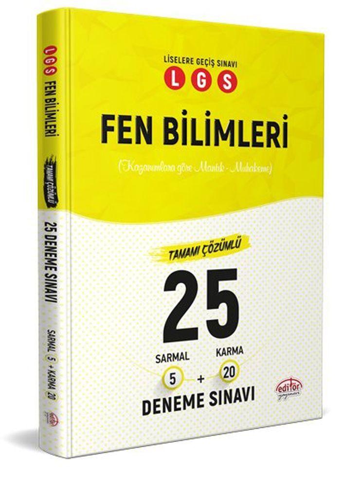 Editör Yayınları LGS Fen Bilimleri 5 Sarmal + 20 Karma 25 Deneme Sınavı