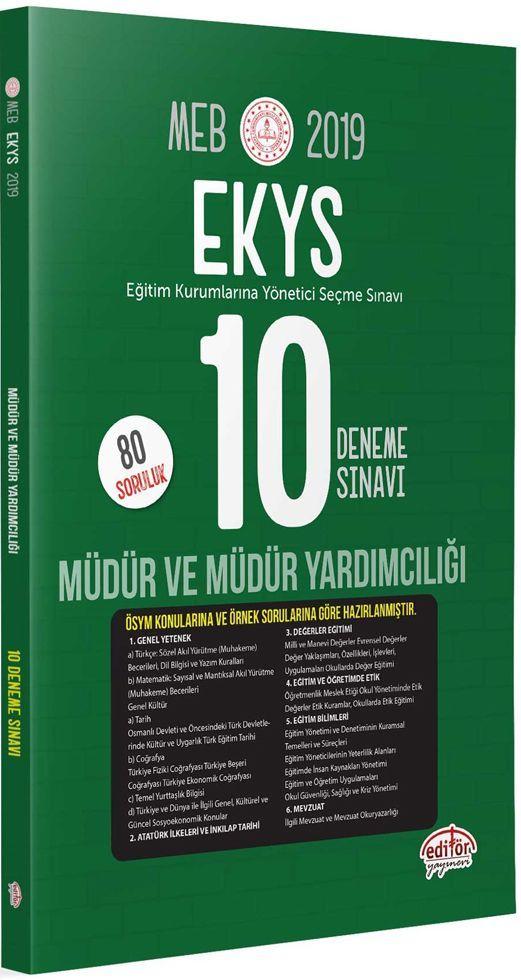 Editör Yayınları 2019 MEB Müdür ve Müdür Yardımcılığı 10 Deneme Sınavı