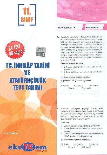Ekstrem 11. Sınıf T.C. İnkılap Tarihi ve Atatürkçülük Çek Kopar Test Takımı