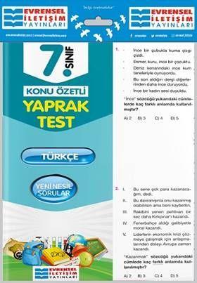 Evrensel İletişim Yayınları 7. Sınıf Türkçe Konu Özetli Yaprak Test