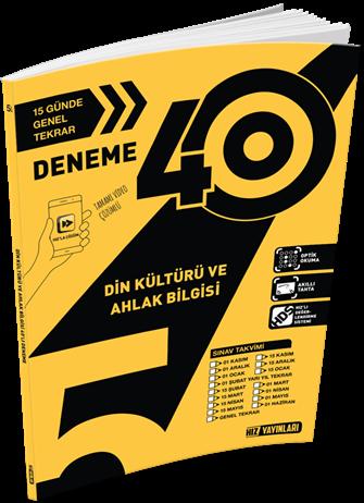 Hız Yayınları 5. Sınıf 40\'lı Din Kültürü ve Ahlak Bilgisi Deneme