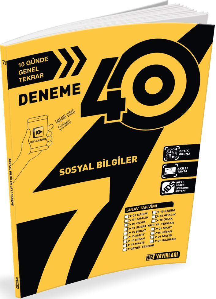 Hız Yayınları 7. Sınıf Sosyal Bilgiler 40lı Deneme