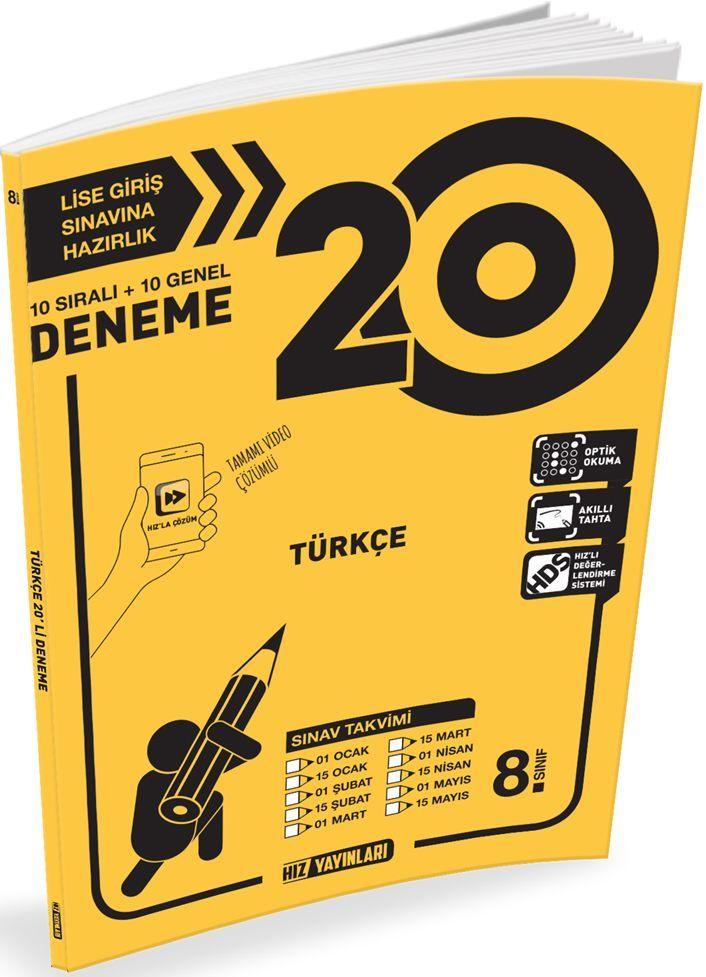 Hız Yayınları 8. Sınıf LGS Türkçe 20li Deneme