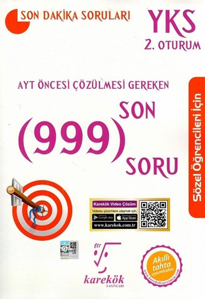 Karekök Yayınları AYT Öncesi Çözülmesi Gereken Son 999 SoruSözel