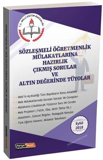Kariyer Meslek Yayınları Sözleşmeli Öğretmenlik Mülakatlarına Hazırlık Çıkmış Sorular ve Altın Değerinde Tüyolar